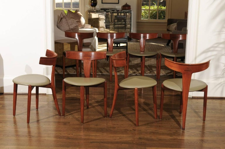Incomparable Set of Ten Dining Chairs by Erik Andersen and Palle Pedersen For Sale 10