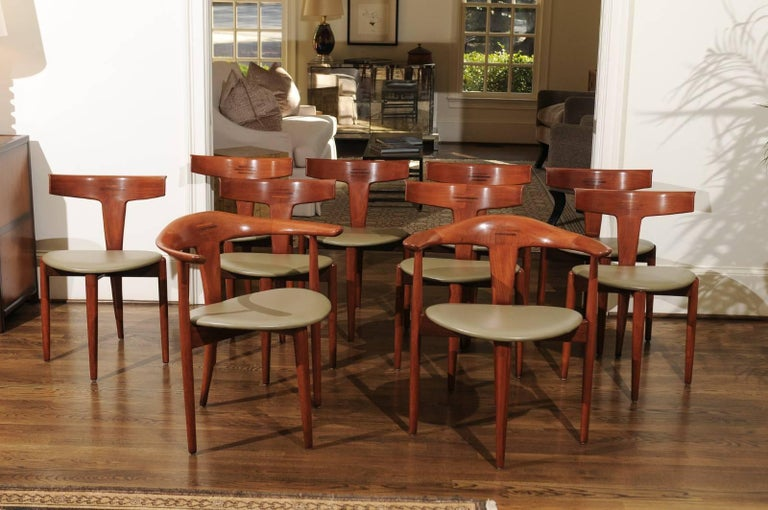 Incomparable Set of Ten Dining Chairs by Erik Andersen and Palle Pedersen For Sale 11