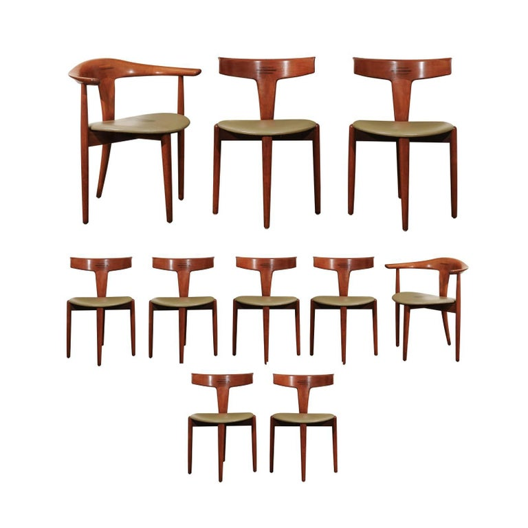 Incomparable Set of Ten Dining Chairs by Erik Andersen and Palle Pedersen For Sale