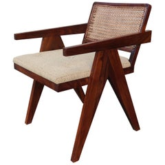 Indian Rosewood and Bamboo Modern Chair in the Style of Jeanneret, Chandigarh