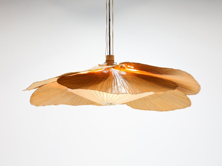 A wonderful and rare large six fan 'Uchiwa Hana' bamboo and Japanese rice paper chandelier by Ingo Maurer for M design, Germany, 1970s.  Ingo Maurer's interest in paper for lampshades was linked with his interest in Japan. From 1973-1975 he