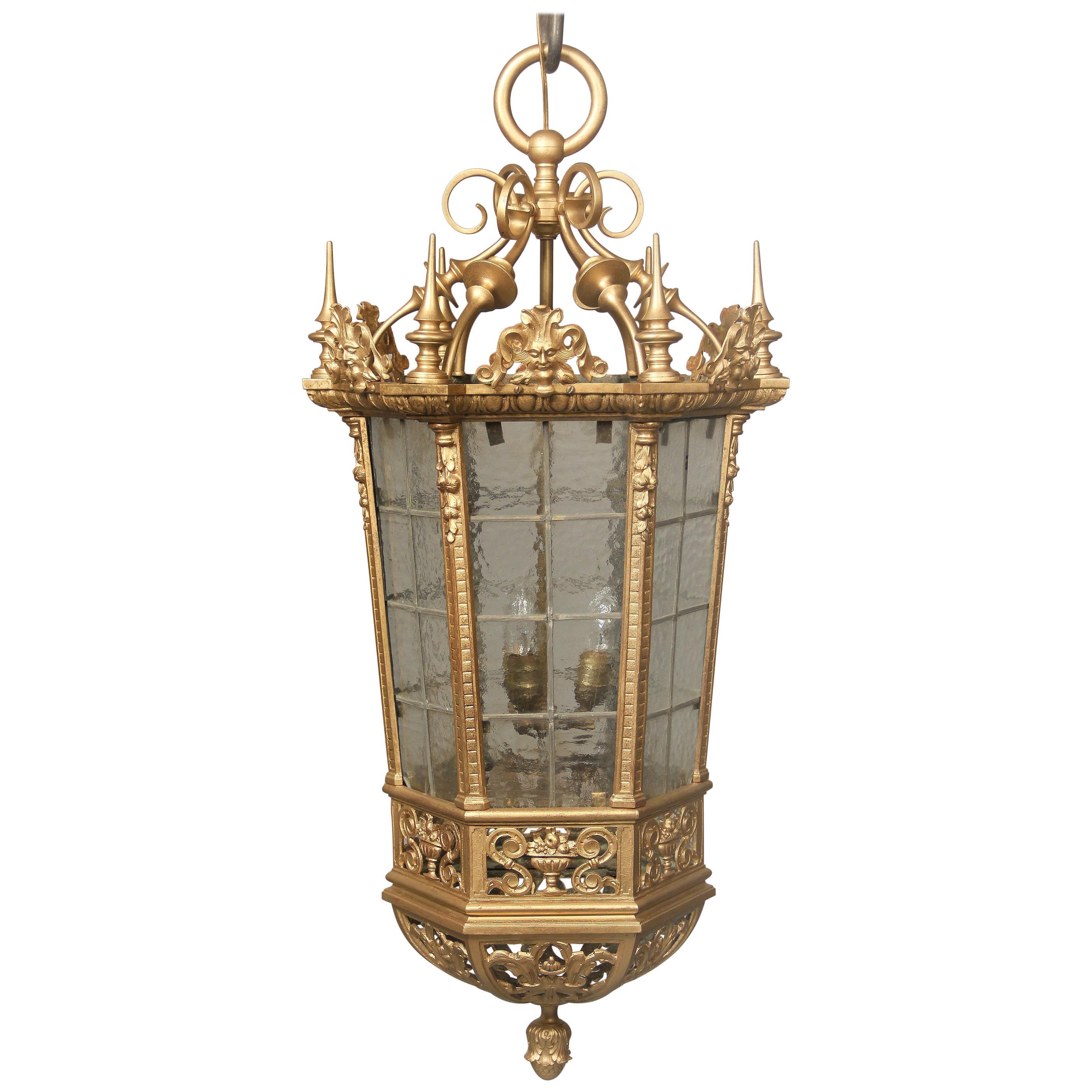 Interesting Late 19th Century Gilt Bronze and Rippled Glass Gothic Lantern