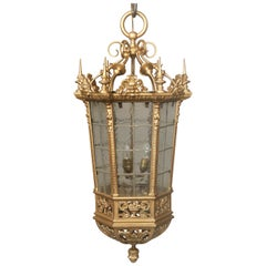 Interesting Late 19th Century Gilt Bronze and Rippled Glass Gothic Lantern