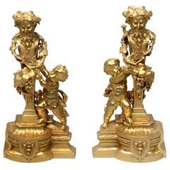 Interesting Pair of Late 19th Century Gilt Bronze Chenets