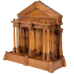 Intricately Carved Wooden Model of the Greek Parthenon