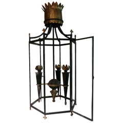 Iron and Brass Midcentury French Chandelier in the Style of Poillerat, 1940