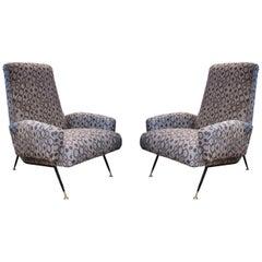 Iron and Brass Legs, Gray Wool Upholstery Midcentury Italian Armchairs, 1960