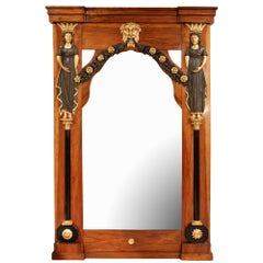 Italian 18th Century Baroque Style Walnut and Giltwood Mirror
