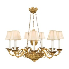 Italian 18th Century Giltwood and Iron Nine-Arm Chandelier from Luca