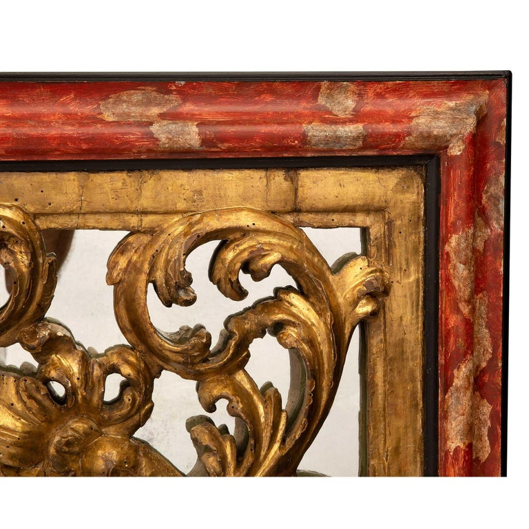 Italian 18th Century Giltwood, Polychrome and Mirrored Decorative Wall Decor For Sale 1
