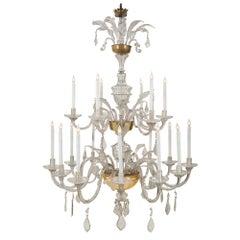 Italian 18th Century Glass and Gilt Eighteen Light Tuscan Chandelier