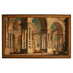 Italian 18th Century Tempera on Canvas Roman Painting
