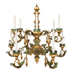 An Italian 18th Century Tuscan Tole, Giltwood and Gilt Iron Chandelier