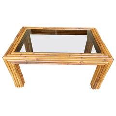 Italian 1970s Bamboo Coffee Table with Smoked Glass