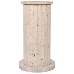 Italian 1970s Travertine Circular Pedestal