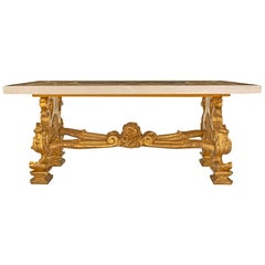 Italian 19th Century Baroque Giltwood and Marble Coffee Table