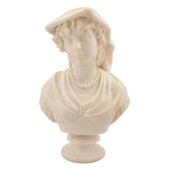 An Italian 19th century Carrara marble bust of a young Neapolitan girl.