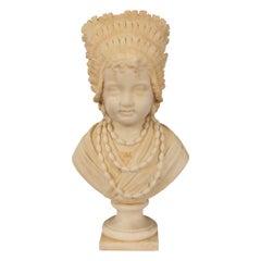 Italian 19th Century Carrara Marble Bust, Signed F.G. Villa Milano, 1880