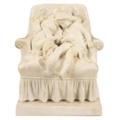 Italian 19th Century Carrara Marble Signed Statue of Two Children Sleeping