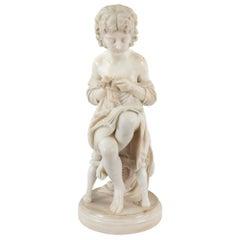 Italian 19th Century Carrara Marble Statue of a Young Girl, Signed Zannoni