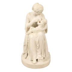 Italian 19th Century Carrara Marble Statue of Mother and Child, Signed Franchi