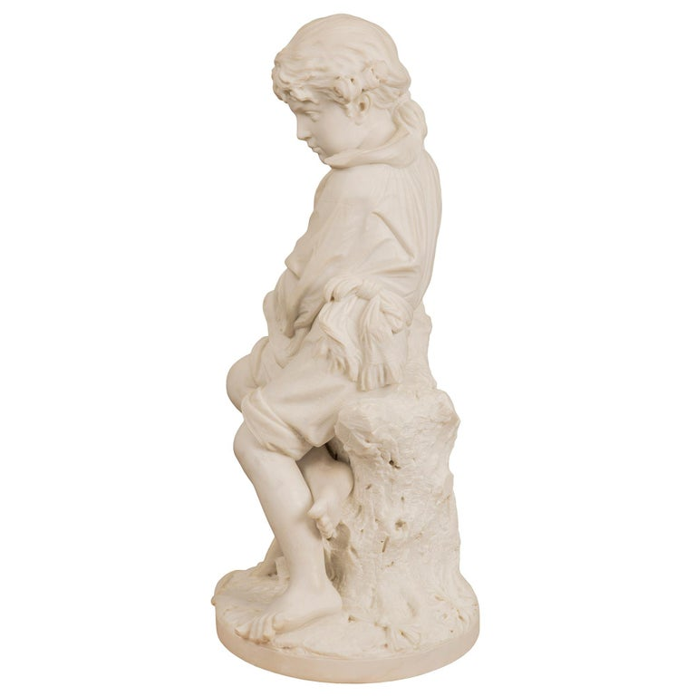 Carrara Marble Italian 19th Century Carrara Statue of Benjamin Franklin, Signed Bazzanti For Sale