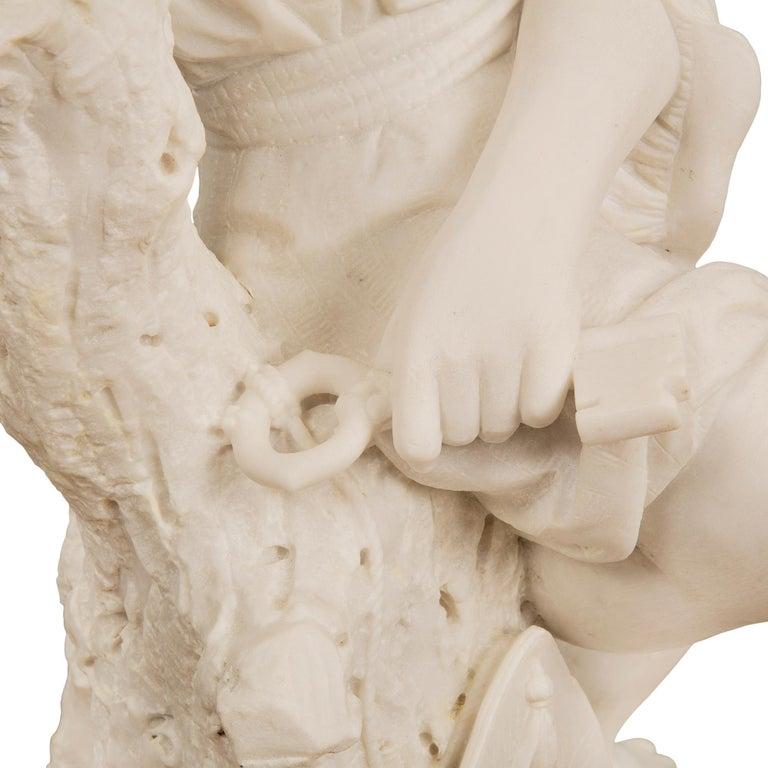 Italian 19th Century Carrara Statue of Benjamin Franklin, Signed Bazzanti For Sale 2