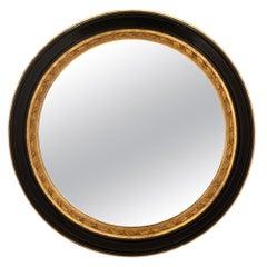 Italian 19th Century Ebonized Fruitwood and Giltwood Mirror