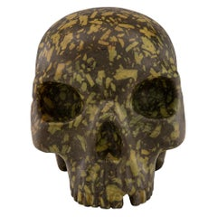 Italian 19th Century Green Porphyry Skull Statue/Paperweight