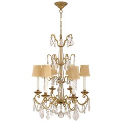 Italian 19th Century Louis XV Style Gilt Iron Crystal and Glass Chandelier