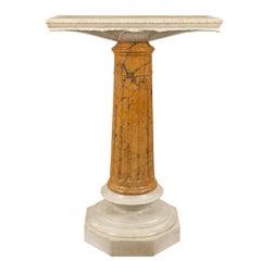 Italian 19th Century Louis XVI Style Carrara and Sienna Marble Pedestal