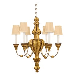 Italian 19th Century Louis XVI Style Mecca, Polychrome and Metal Chandelier