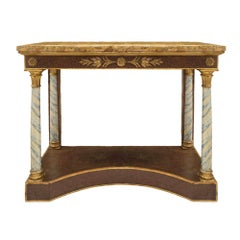 Italian 19th Century Neoclassical Painted, Giltwood and Scagliola Console