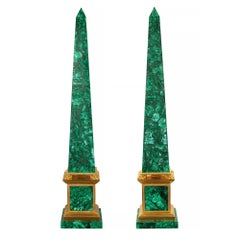 Italian 19th Century Neoclassical Style. Malachite and Ormolu Mounted Obelisks