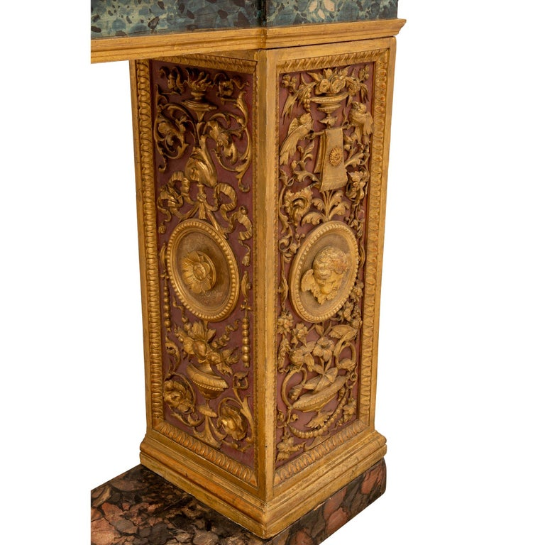 Italian 19th Century Neoclassical Style Painted and Giltwood Console For Sale 6