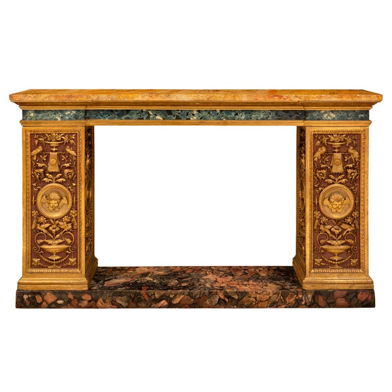 Italian 19th Century Neoclassical Style Painted and Giltwood Console For Sale