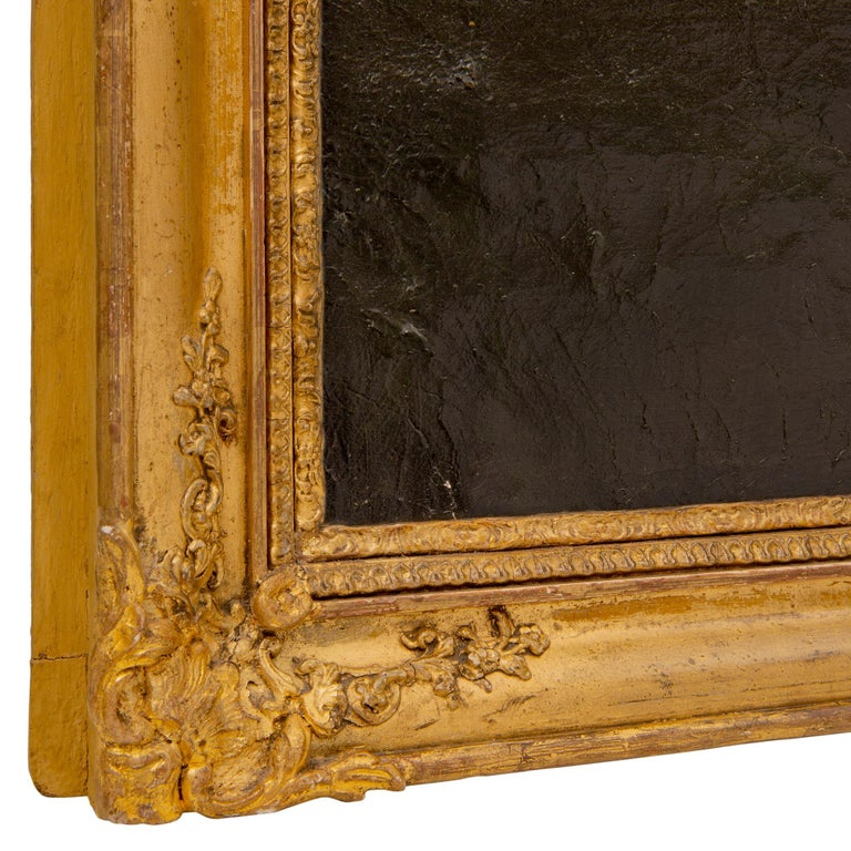 Italian 19th Century Oil on Canvas Painting in its Original Giltwood Frame For Sale 1