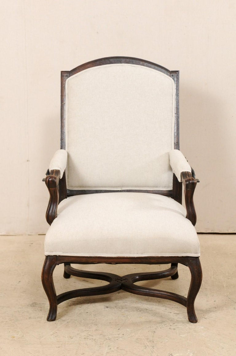 Italian 19th Century Reclining Wood and Upholstered Armchair In Good Condition For Sale In Atlanta, GA