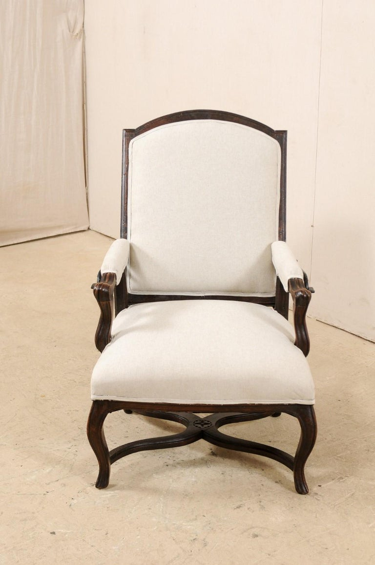 Italian 19th Century Reclining Wood and Upholstered Armchair For Sale 1