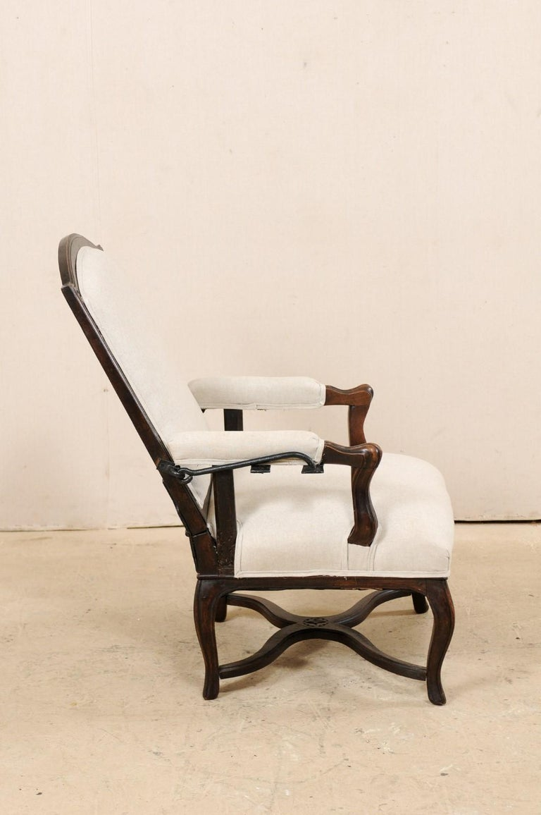 Italian 19th Century Reclining Wood and Upholstered Armchair For Sale 2