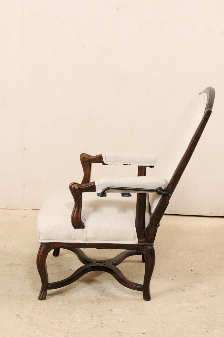 Italian 19th Century Reclining Wood and Upholstered Armchair For Sale 6