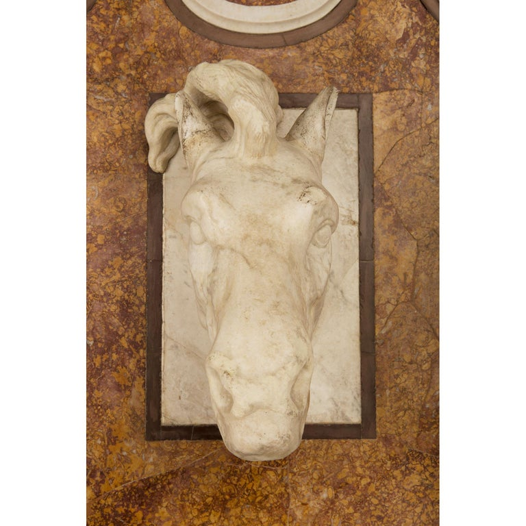Italian 19th Century White Carrara and Brocatelle d'Espagne Marble Fountain For Sale 3