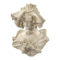 Italienische Statue aus weißem Carraramarmor, signiert von Galileo Pochini, 19. Jahrhundert
