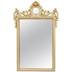 Italian 19th Century White Polychrome and Giltwood Mirror