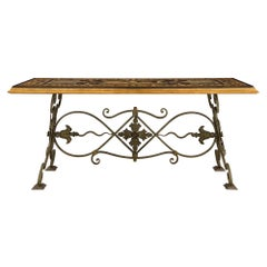 Italian 19th Century Wrought Iron, Giltwood and Scagliola Center/Dining Table