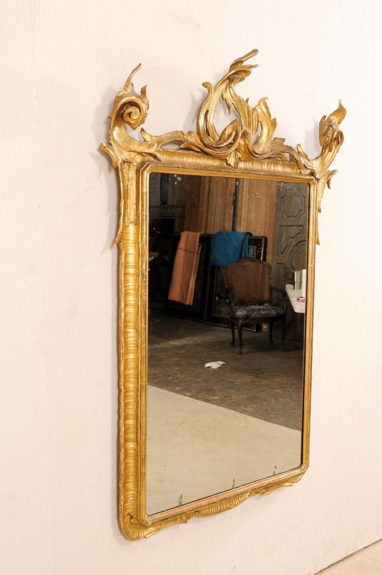 Italian Tall Carved and Giltwood Mirror, Early 20th Century  For Sale 6