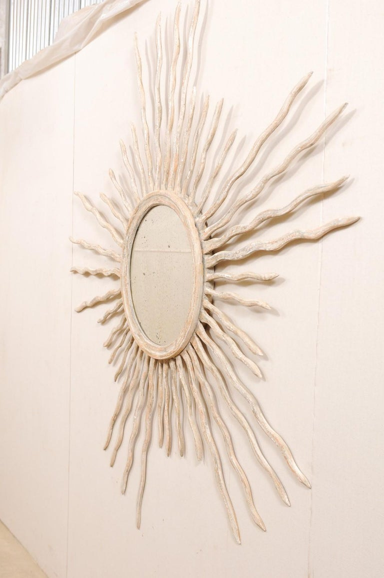 Italian Sunray Wall Ornament with Mirror Center, Pair Available In Good Condition For Sale In Atlanta, GA