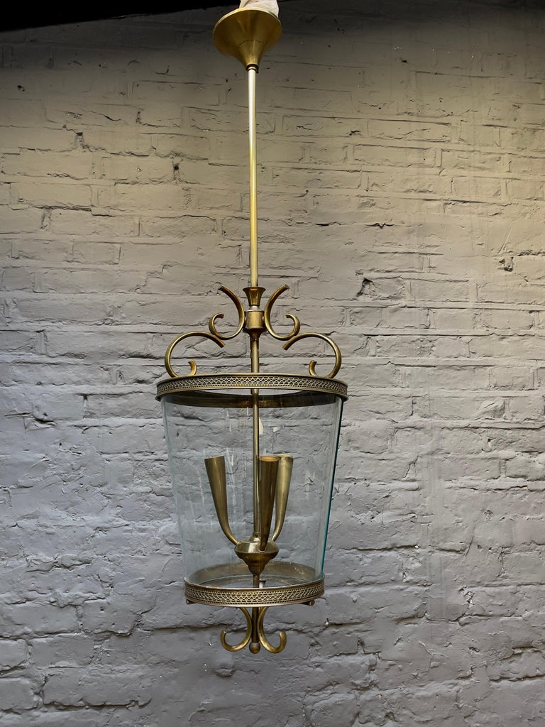 Italian Brass and Glass Lantern For Sale 8