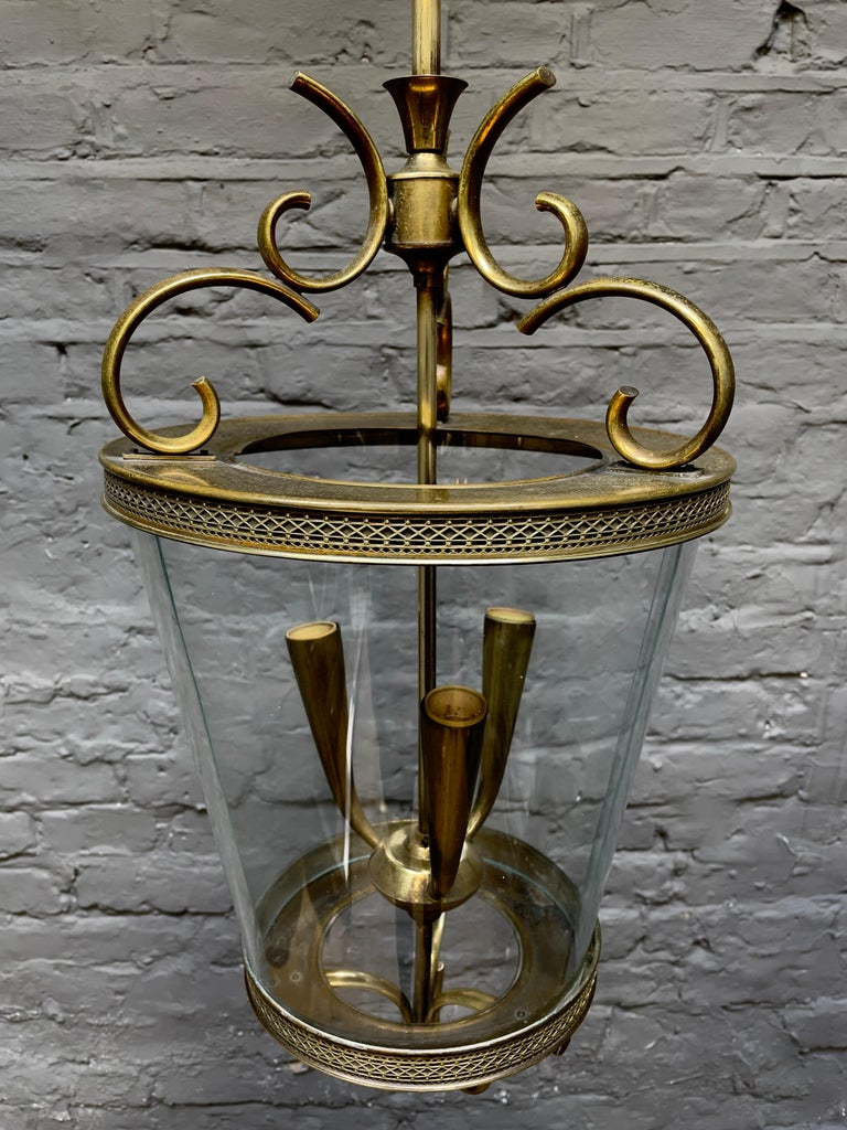 Italian Brass and Glass Lantern In Good Condition For Sale In London, GB