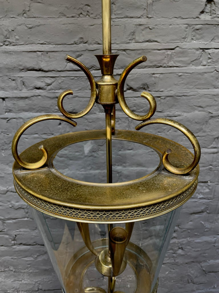 Mid-20th Century Italian Brass and Glass Lantern For Sale